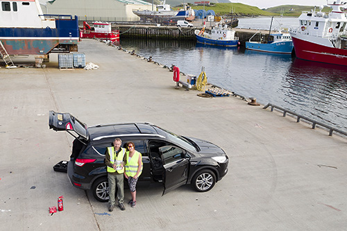 Filming at Scalloway Pier