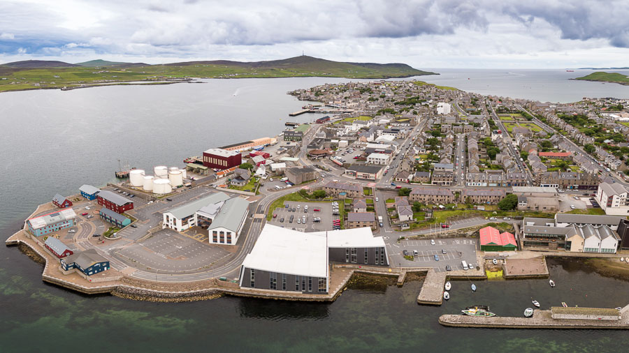 An aerial photograph of a property in Seafield, Lerwick, used for marketing purposes
