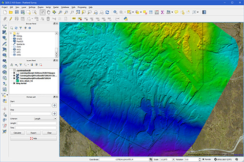 DEM Coloured GeoTiff opened as a layer in QGIS